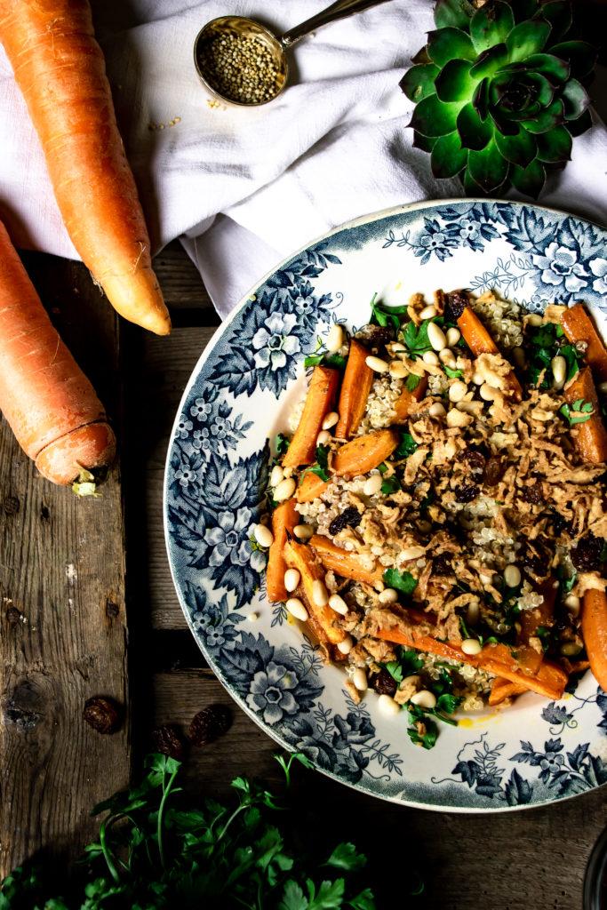 Salade quinoa carottes oignons frits