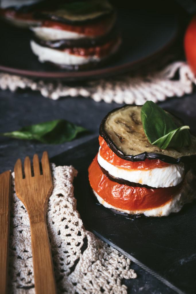 Napoléon Aubergines Tomates Mozzarella
