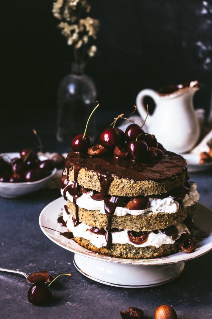 Cake pavot cerises chantilly