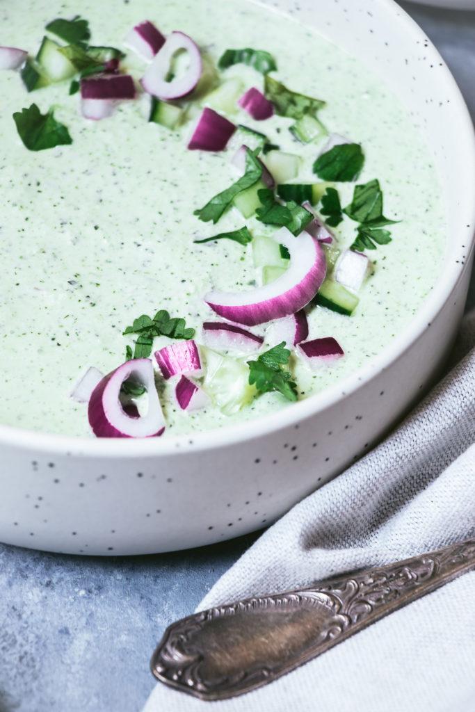 Soupe froide concombre coriandre