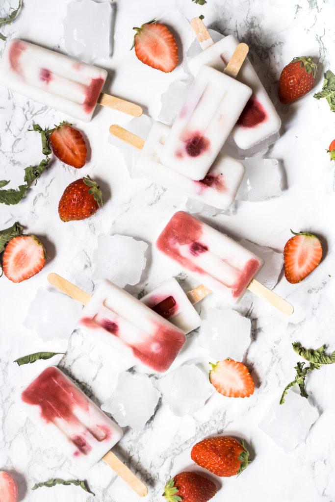Glaces vegan fraise coco verveine