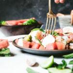 salade pastèque burrata crevettes