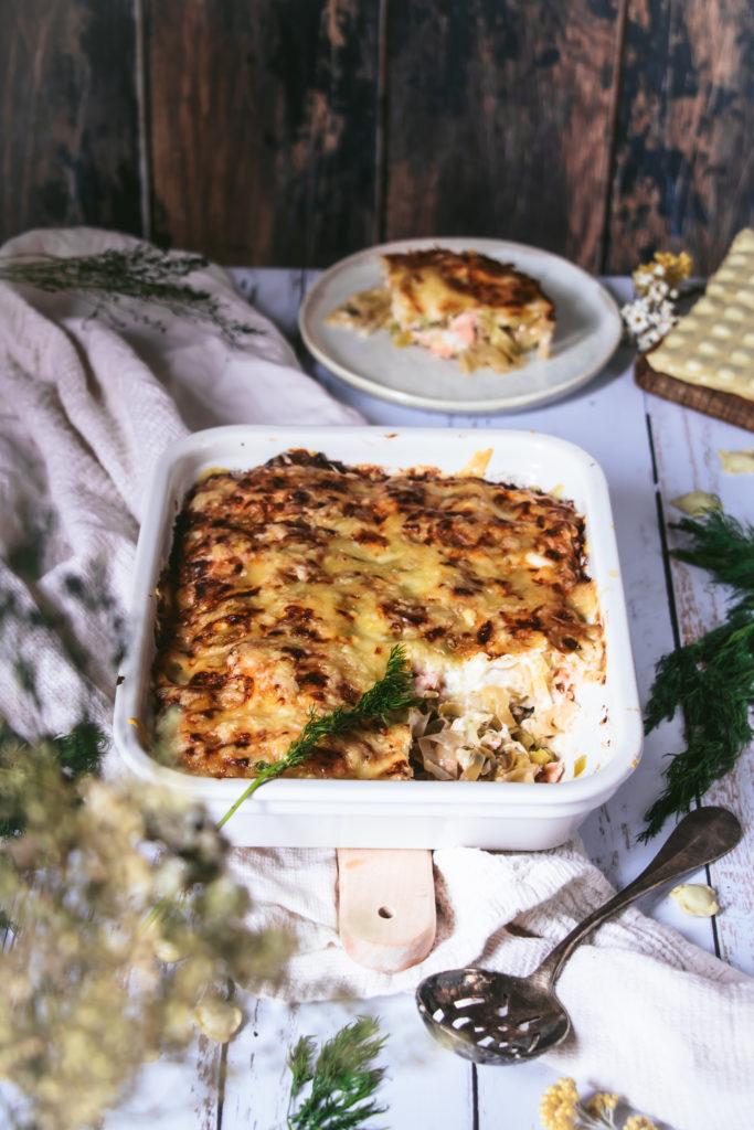 Lasagnes de ravioles poireaux et saumon