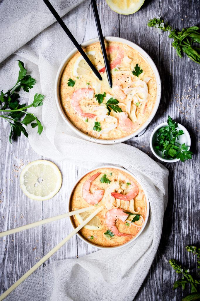 Soupe thaï curry crevettes