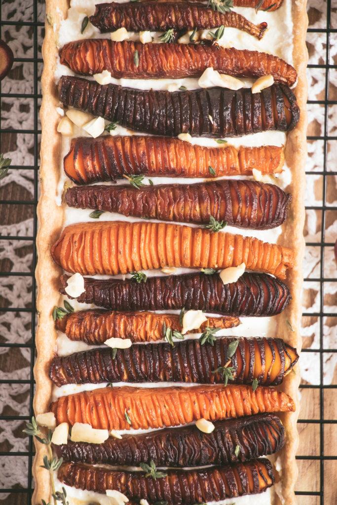 Tarte aux carottes rôties, ricotta thym