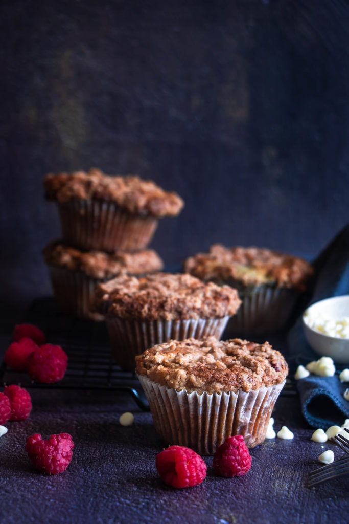 Muffins streusel framboises et chocolat blanc