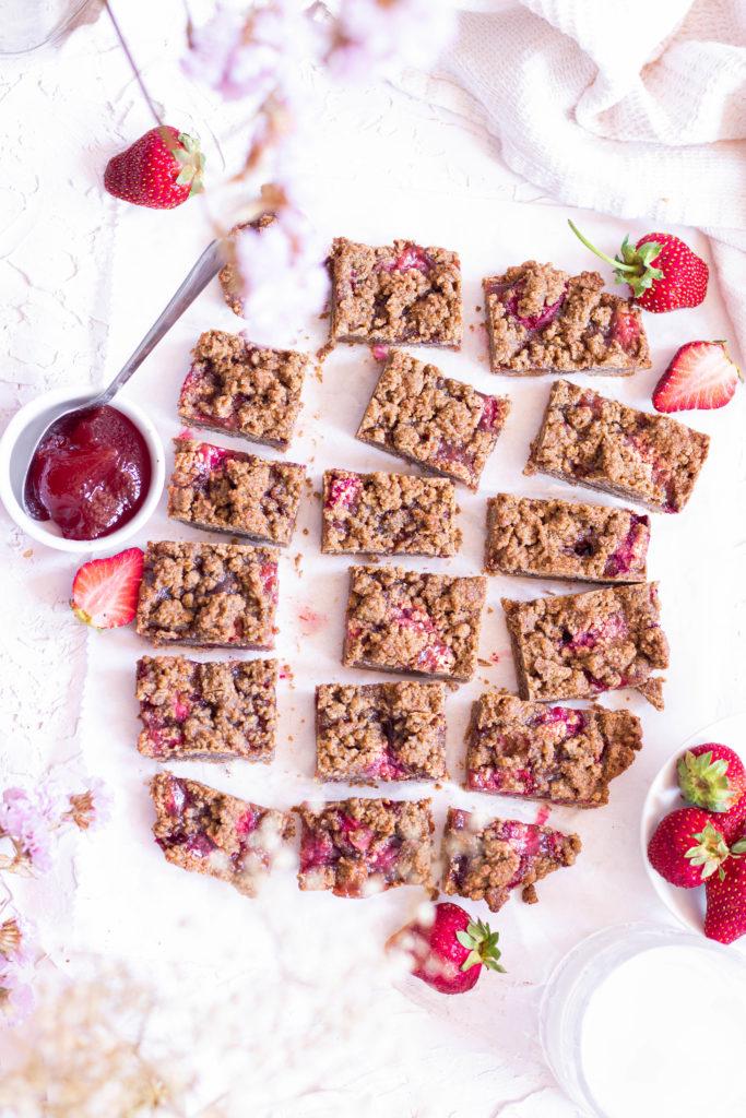 Crumble bars arachides fraises