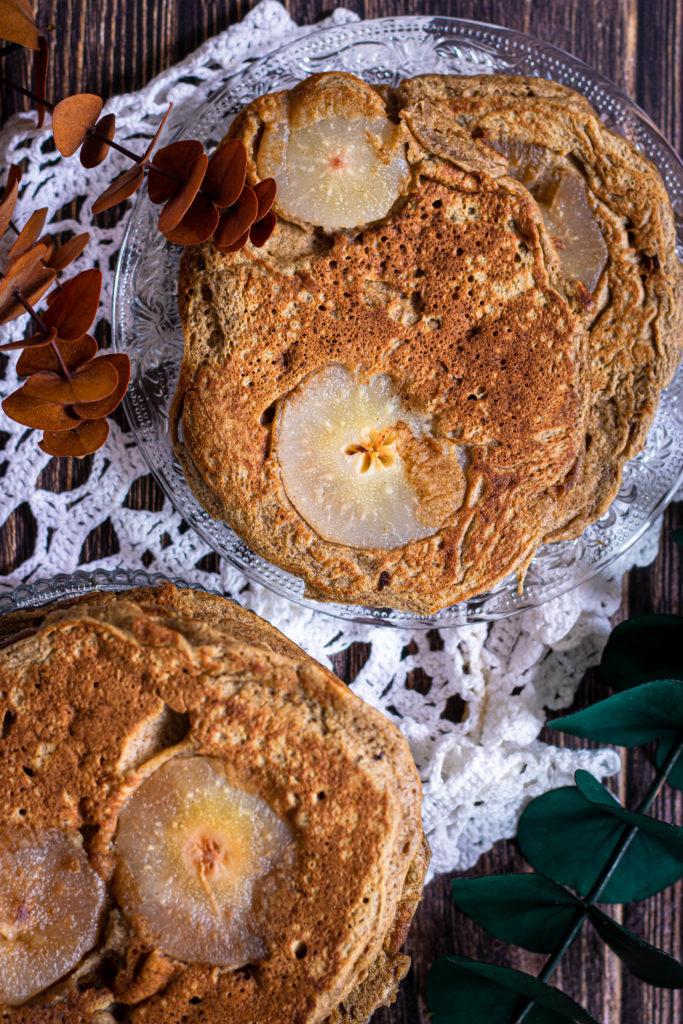 pancakes au levain sarrasin et poires