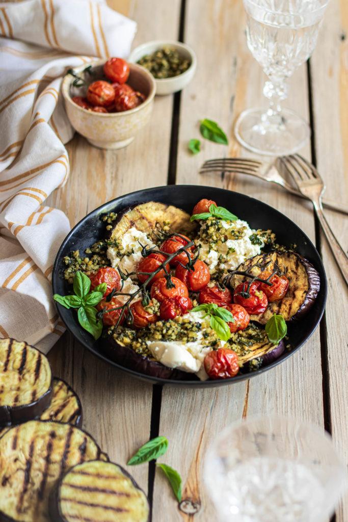 Poêlée aubergines tomates ricotta